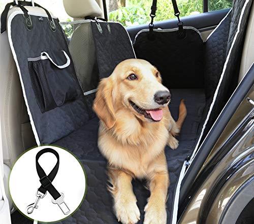 Pecute Hundedecke für Auto Rückbank mit Mesh Fenster,Kofferraumdecke für Hunde (146x136cm) Hand Autoschondecke mit Sicherheitsgurt, Rücksitzbezüge für Hunde Schwarz (Streifen prüfen)