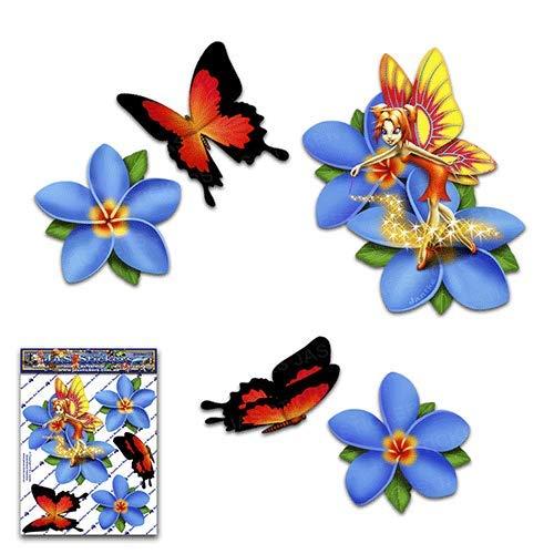 JAS Stickers® Fairy Fantasy Frangipani Plumeria Blaue Blume + Schmetterlingstier Kleine Aufkleber Autoaufkleberpaket für Laptop-Fahrrad Wohnwagen LKW & Boote - ST00062BL_SML