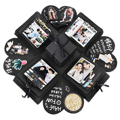 nuoshen Überraschung Box, Schwarz Kreative Explosion Box DIY Geschenk Scrapbook für Geburtstag Christmas Jahrestag Muttertag Valentinstag Heiratsantrag Hochzeit
