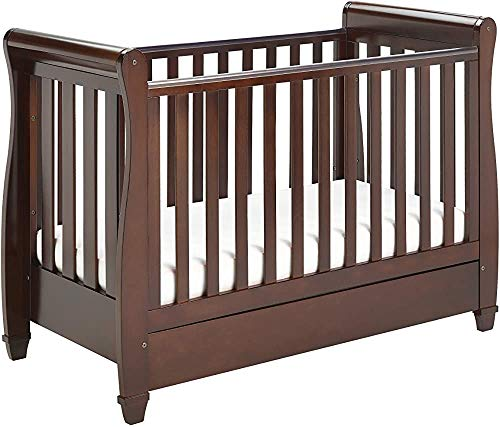 Modern and Stylish Pine Wood Crib Multifunction Easily Converted into a Small Bed/Sofa/Day Bed Suitable from Birth to About The Age of Four,Brown