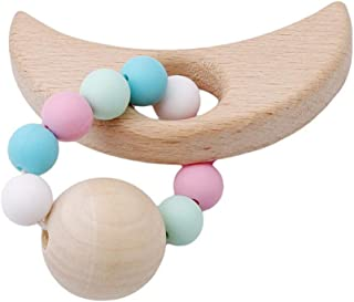eroute66 Baby Teether Nursing Bracelet Food Grade Silicone Teether Wooden Teether Ring Teether Nature Safe Organic Infant Baby Bangle Teether Toys 6#