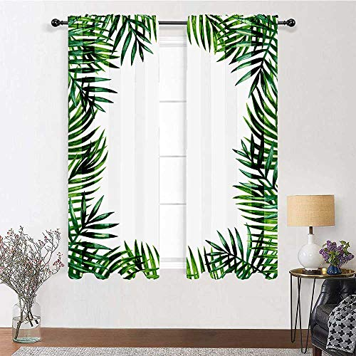 Room Divider Curtain 63 inch Length, Green Leaf Window Panel Set 72' x 63' - Frame with Fresh Leaves Botanical Natural Artwork Environment Forest, Jade Green Lime Green