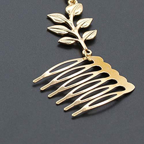 Lurrose Lot de 2 chaînes à cheveux avec peigne latéral Motif feuilles dorées