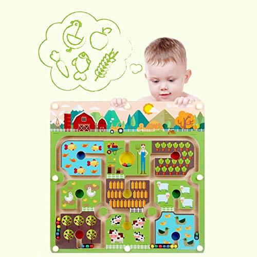 YLLN Beads Maze Puzzle Juego de Mesa Educativo Laberinto Interactivo Juguetes para niños (Granja Grande)