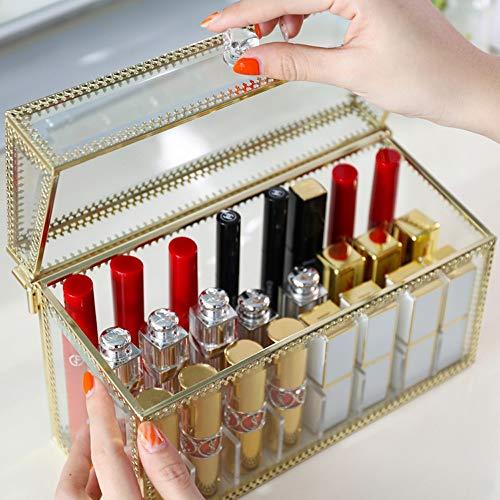 Kcakek Europese Lipstick Storage Box Multi compartimenten Cosmetische Storage doos met deksel Transparante Cosmetische afwerking box Layered Cosmetische Stand Cosmetische Storage In badkamer en slaapk