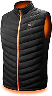 kemimoto Lightweight Heated Vest, Washable Size Adjustable USB Charging Heated Warm Vest for Outdoor Camping Hiking Golf, XL, Black