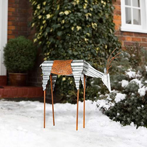Alpine Corporation JUM326 Alpine Sheet Metal Grazing Reindeer, Outdoor Festive Decoration for Garden, Lawn, Yard Holiday décor, Multi