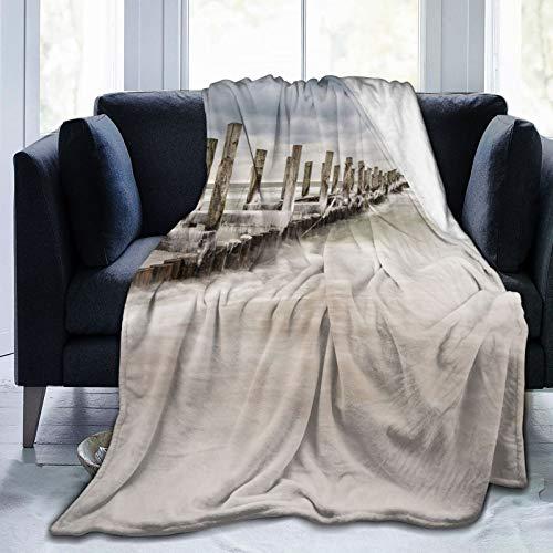 LASINSU Flanell Fleece Soft Throw Decke,Landschaft Buhne Zingst Deutschland Drucken,für Sofas Sofa Stühle Couch...