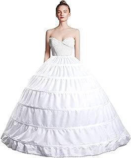 Full Shape 6 Hoop Skirt Ball Gown Petticoat Underskirt Slip for Wedding Dress Adjustable Waist