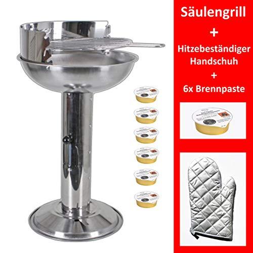 Grill-Holzkohle Säulengrill Edelstahl Standgrill groß B/H/T 32 x 74 x 53cm Grillfläche mit Aschebehälter inkl. Grillzange, Grillbesteck und Grillbürste