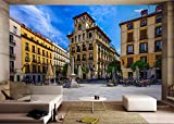 Póster Mural Vista A La Calle De Madrid, España Papel Pintado Tejido No Tejido Decoración De Pared Decorativos Murales Moderna Diseno Fotográfico Paisaje