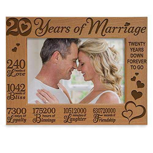KATE POSH - 20 Years of Marriage, Our 20th Anniversary Engraved Natural Wood Picture Frame, Twenty Years Together, Wedding Anniversary Gift for Husband & Wife (5x7 Horizontal)