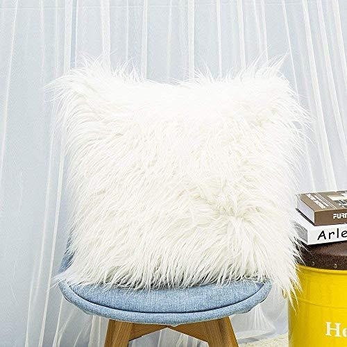 Lurowo 2 fundas de almohada en suave piel sintética y pelo largo, piel de oveja, para salón, sofá, dormitorio [blanco]