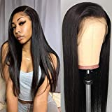 Lace Front Wigs Human Hair 20 inch Straight Lace Frontal Wigs For Black Woman 13x4 Lace Front Wigs Pre Plucked Hairline with Baby Hair 150% Density 10A Dyale Natural Black Hair Wig(20 inch)
