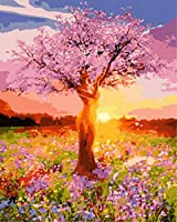 SJYHNB 油絵 数字キット ピンクの花の木 DIY子供 大人数字 アクリル絵画 アートクラフト ホームウォールデコレーション ペイント 番号 40 x 50 センチ (フレームレス)