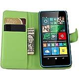 Ycloud Tasche für Microsoft Lumia 640 Dual-SIM Hülle, PU Ledertasche Flip Cover Wallet Hülle Handyhülle mit Stand Function Credit Card Slots Bookstyle Purse Design grün