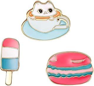 Pulabo - Broche delicado para mujer y hombre, 3 piezas, diseño de helado, diseño de hamburguesas, esmalte de hamburguesas,...