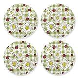 Sottobicchieri per bevande assorbenti – Camomilla Flower Strawberry Natural Wood Cup Mat con tappo in sughero (4 pezzi) 10,5 cm per ornamenti natalizi