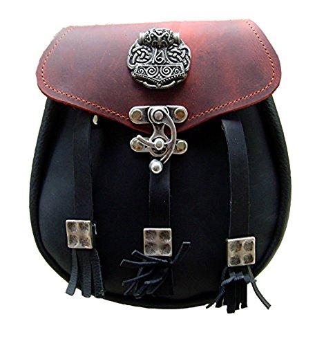 Kilt Tasche Sporran Nordgermanischer Thorshammer Farbe Schwarz-Rot