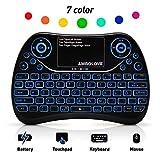 AMBOLOVE Mini Tastatur Deutsches Tastatur-Layout (QWERTZ) Game Air Maus Keyboard mit Touchpad und Multimedia Tasten, 2.4Ghz USB wiederaufladbare Handheld USB Schnittstelle (MEHRWEG)