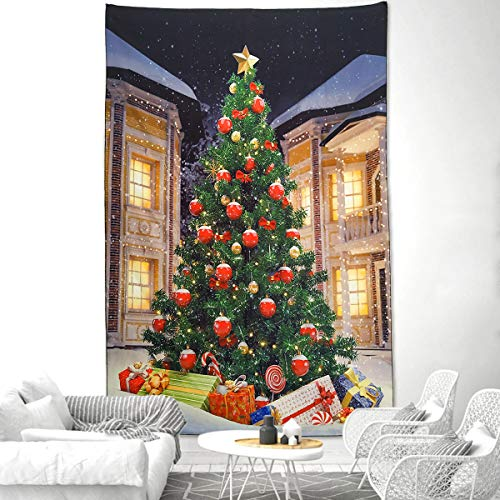 NASKY Christmas Tree Tapestry Wall Hanging Xmas Tree with Gifts Tapestry Christmas Decorations Winter Festival Wall Tapestry for Home Party Decor(Christmas Tree,39.4'X59.1'(100x150cm))