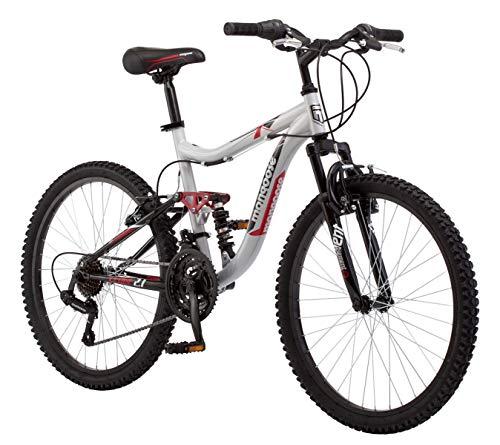 "Mongoose 24"" Ledge 2.1 Boys Mountain Bike, Silver/Red"