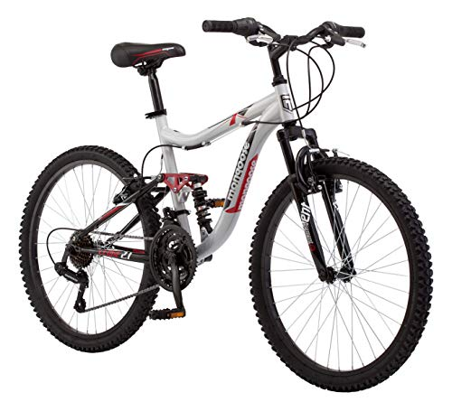 "Mongoose 24"" Ledge 2.1 Boys Mountain Bike, Silver/Red"