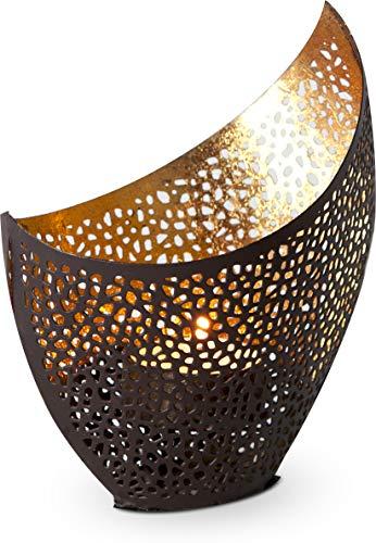 ROMINOX Geschenkartikel Teelichthalter//Athen groß – Kunstvolle Kerzenschale, goldene Lichteffekte mit Goldfolie, Weihnachten, Grillparty, Valentinstag, Muttertag; Maße: ca. 11 x 8 x 14.5 cm