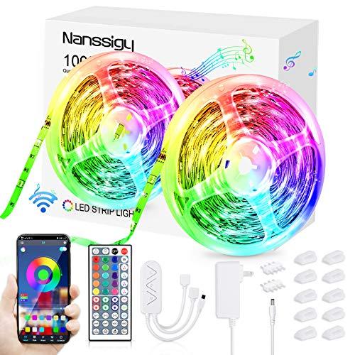 LED Streifen,16m/52.5ft LED Strips Lights 5050 RGB Farbwechsel LED Band, Sync mit Musik, dimmbar, 16 Mio. Farben, Steuerbar via App und IR Fernbedienung, für Zuhause, Bett, Schlafzimmer,TV, KücheDeko