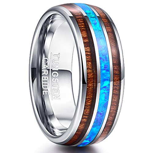 NUNCAD Ring Wolfram 8mm mit Opal Blau + Koa Holz für Damen Herren Partner Verlobungsring Freundschaft Größe 66 (26)