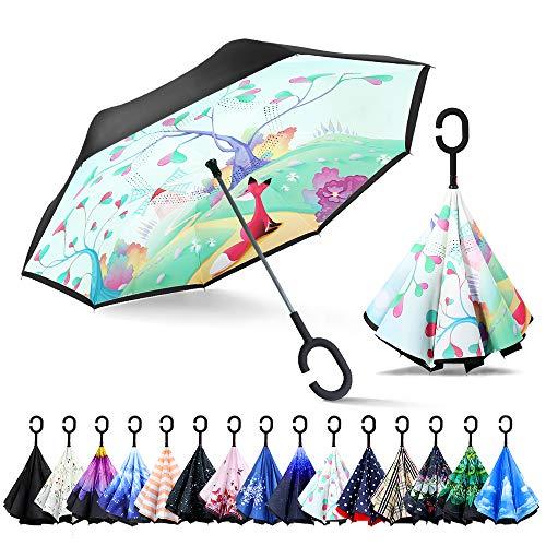 Zomake Inverted Paraplu, innovatieve paraplu, dubbele laag, winddichte paraplu, vrije hand, omgedraaide paraplu met C-handgreep voor auto en outdoor