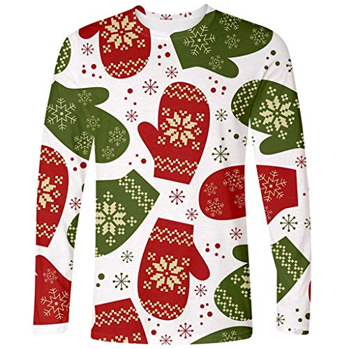 Review Of Mens Ugly Christmas T-Shirt, Snowflake Print Gloves Crewneck Long Sleeve Top Blouse (XL, W...