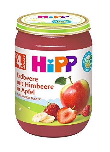 HiPP Früchte Erdbeere mit Himbeere in Apfel, 6er Pack (6 x 190 g)