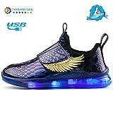Zapatos De Luces,Tenis Luminosos LED Zapatos Ligero Transpirable 7 Colores USB Carga Luminosas Flash Deporte de Zapatillas con Luces Los Mejores Regalos para Niños Tamaño (25-37) Phantom Blue-26