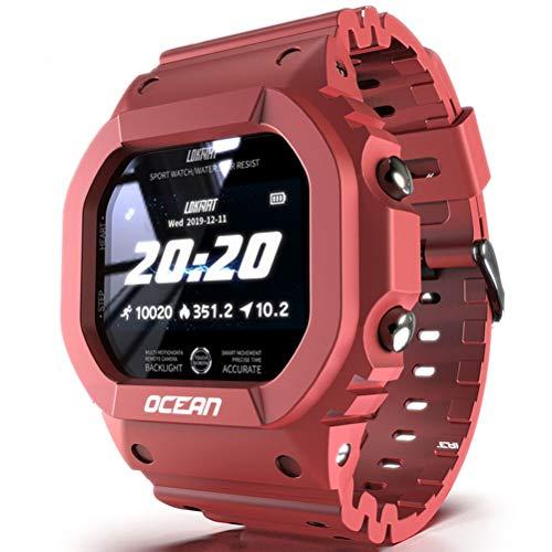HJKPM Ocean Smartwatch, Podómetro De Ritmo Cardíaco Salud IP68 Reloj Inteligente Impermeable para ECG PPG HRV Sleep Monitoring,Rojo