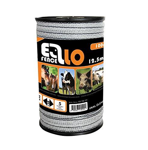 Ellofence Weidezaunband 12,5mm, Topqualität für Extra Lange Zäune (100m)