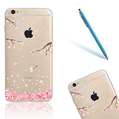 CLTPY Custodia per iPhone 6Plus/6sPlus, Cute Cartone Animato Fiori di Ciliegio Disegno Serie Ultra Sottile Leggero Morbido Case per iPhone 6Plus,iPhone 6sPlus + 1x Stilo - Rosa Petali