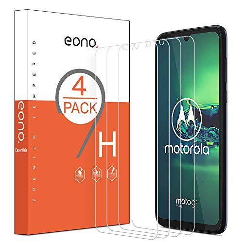 Eono by Amazon - Protector Pantalla para Moto G8 Plus, Cristal Templado Moto G8 Plus, Antiarañazos, Sin Burbujas, 6.3 Pulgadas [4 Piezas]