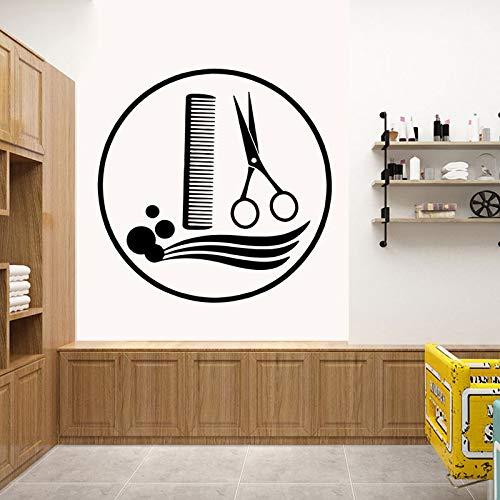 guijiumai Friseursalon Raumdekoration Kreative Barbershop Wandaufkleber Schere Kamm Haar Wohnkultur Kunst PVC Vinyl Wandtattoos78X78CM