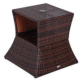 Outsunny Pied de Parasol Table Basse 2 en 1 étagère inférieure intégrée résine tressée Imitation rotin PE dim. 54L x 54l…
