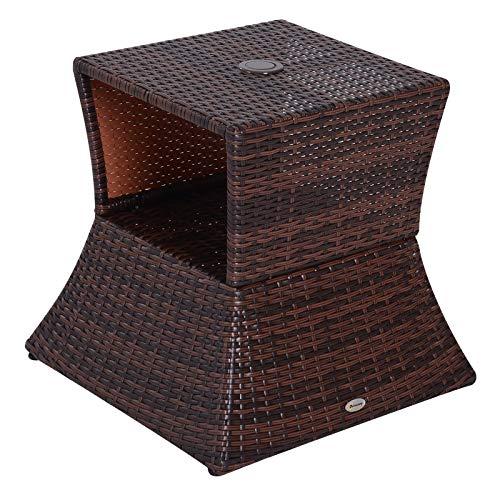 Outsunny Pied de Parasol Table Basse 2 en 1 étagère inférieure intégrée résine tressée Imitation rotin PE dim. 54L x 54l x 55H cm Marron