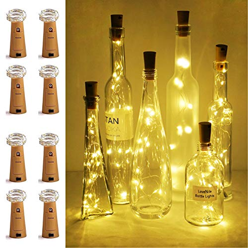LoveNite Wine Bottle Lights with Cork, 8 Pack Battery Operated 15 LED Cork Shape Silver Wire Colorful Fairy Mini String Lights for DIY, Party, Decor, Christmas, Halloween,Wedding (Warm White)