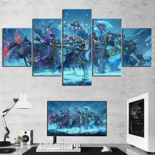 iMayGou 5 Piezas de Pintura de Lienzo World of Warcraft Hero Game Poster Art HD...