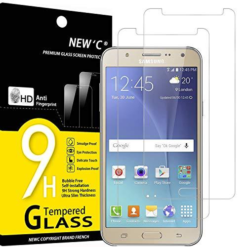 NEW'C 2 Stück, Schutzfolie Panzerglas für Samsung Galaxy J5 2015, Frei von Kratzern, 9H Festigkeit, HD Bildschirmschutzfolie, 0.33mm Ultra-klar, Ultrawiderstandsfähig