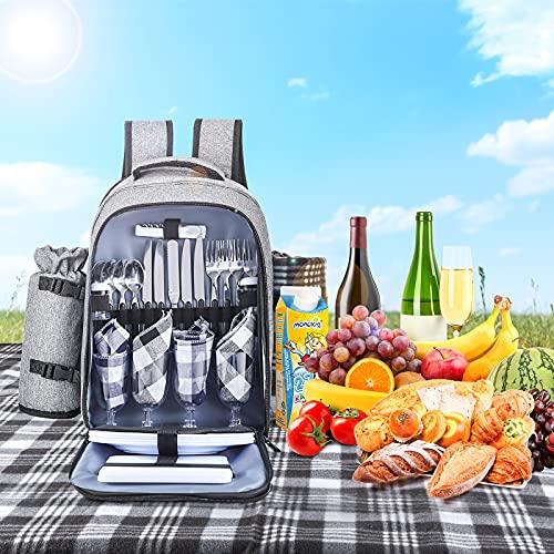 TELAM Picknick-Rucksack für 4 Personen Picknick-Rucksack Tasche Picknickset Mittagessen Rucksack mit Kühltasche inklusive Flaschenhalter und Fleecedecke für Camping / BBQ / Familie Outdoor-Aktivitäten