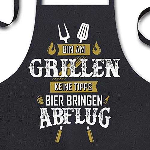 YORA Grillschürze für Männer lustig - Vatertagsgeschenk - Bin am Grillen - Kochschürze Inkl. personalisierbarer Urkunde - lustige Geschenke zum Vatertag - Geschenkideen Papa & Opa