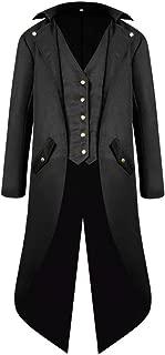 Pevor Men's Steampunk Tailcoat Jacket Gothic Victorian Frock Coat Tuxedo Uniform Halloween Costume