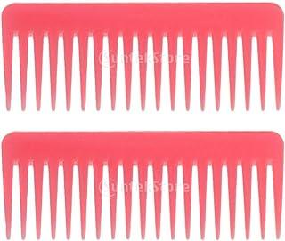 Perfeclan 2個セット 静電防止くし 広い歯 櫛 サロン ヘアブラシ ヘアスタイリング