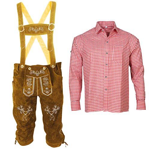 Herren Trachten Set Lederhose mit Trägern + Trachten Hemd Bayerische Oktoberfest (Hose + Hemd) BLR01 (Lederhose 62 + Hemd 3XL)