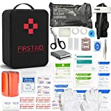 SHBC First Aid Survival Kit Tactical IFAK Pouch Supplied with 26 EMT Items for Military Emergency Outdoors Including CAT Tourniquet, Israeli Bandage, 36 Inch Splint